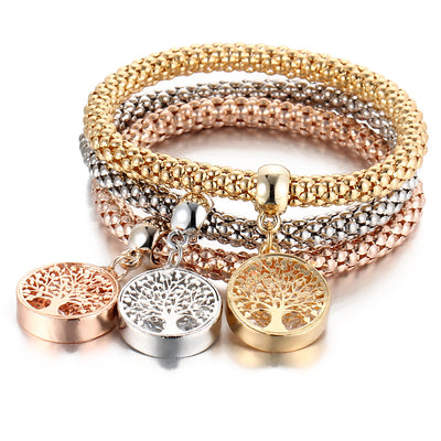 I's 3 Bracelets Multilayer Gold/Silver/Rose Gold Corn Chain Charms with Crystal Stretch Bracelet Set for Women(Tree of Life)