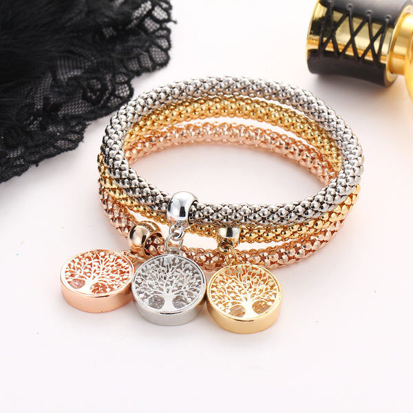 Multilayer Gold/Silver/Rose Gold Corn Chain Charms Crystal Stretch Bracelet Set | ISAACSONG.DESIGN