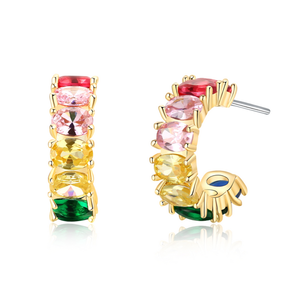 Rainbow Baguette Cuff Huggie Hoops Earrings | ISAACSONG.DESIGN