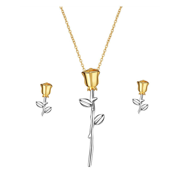 Sterling Silver Lover Rose Flower Necklace Earrings Jewelry Set for Women | ISAACSONG.DESIGN