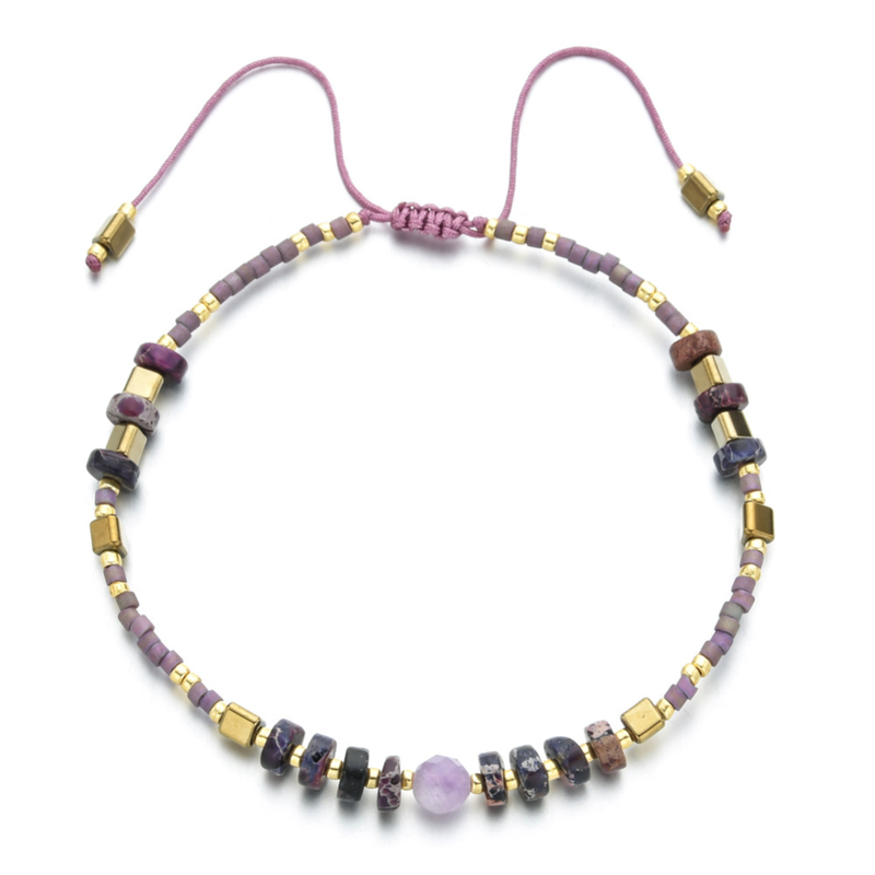 """Power of Gemstone"" Amethyst Japanese Seed Bead String Bracelet Epic 