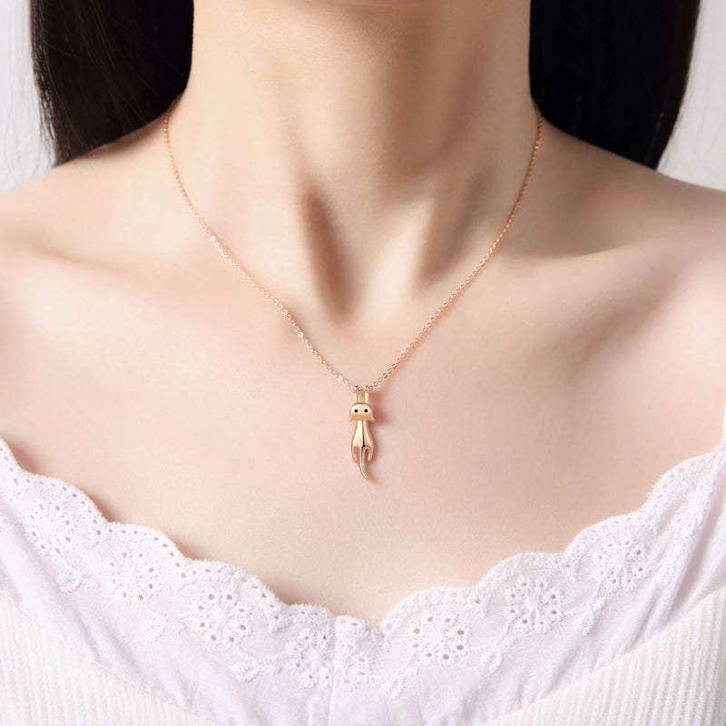Luxury Dangling & Swing Cat Pendant Necklace - ISAACSONG.DESIGN