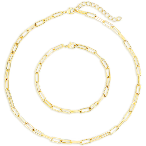 Gold Chain Oval Thick Link Choker Collar Necklace and Bracelet Jewelry Set - ISAACSONG.DESIGN