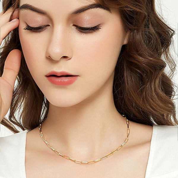 Gold Chain Oval Thick Link Choker Collar Necklace and Bracelet Jewelry Set | ISAACSONG.DESIGN