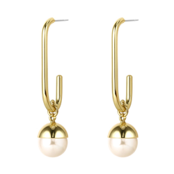 Statement Toggle Chunky Oval Clasping Link Earring with Pearl | ISAACSONG.DESIGN