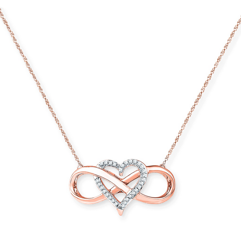 "Sterling Silver ""Forever Love"" Infinity Heart Pendant Necklace - ISAACSONG.DESIGN"