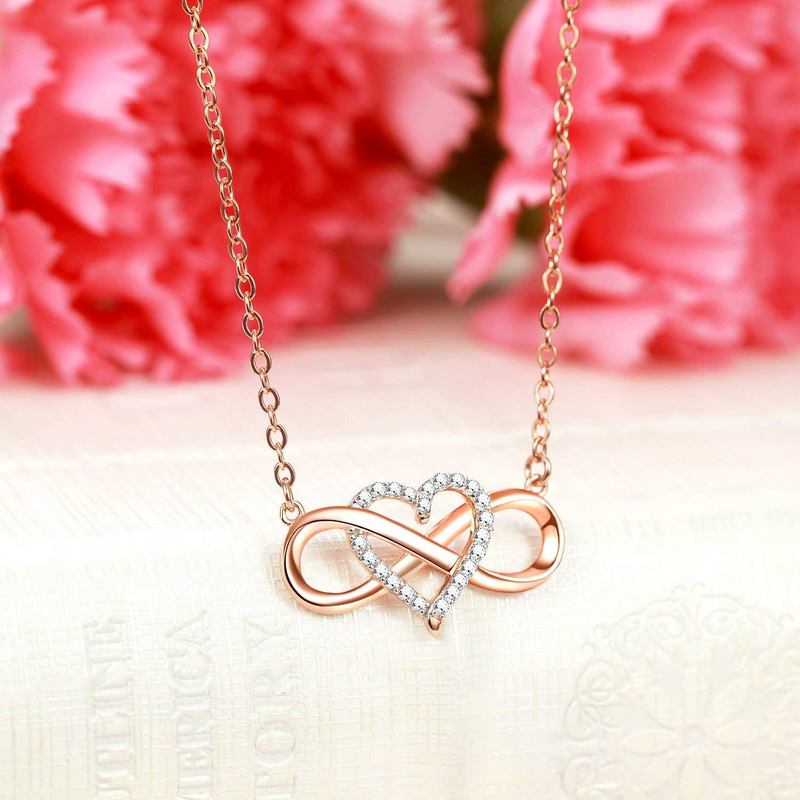 "Sterling Silver ""Forever Love"" Infinity Heart Pendant Necklace 