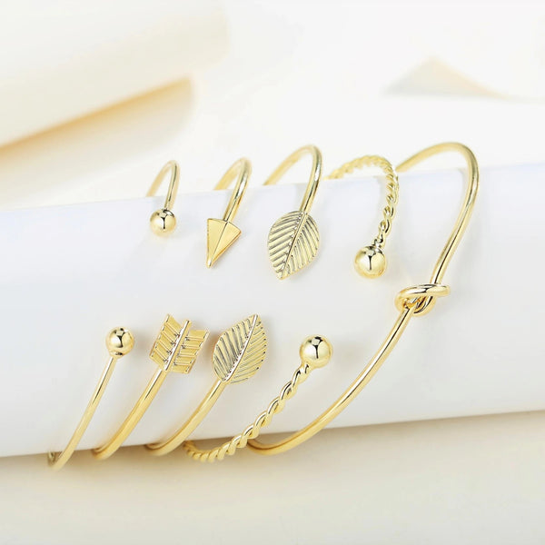 Inspirational Love Knot Stackable Open Cuff Bangle Bracelet Set - ISAACSONG.DESIGN