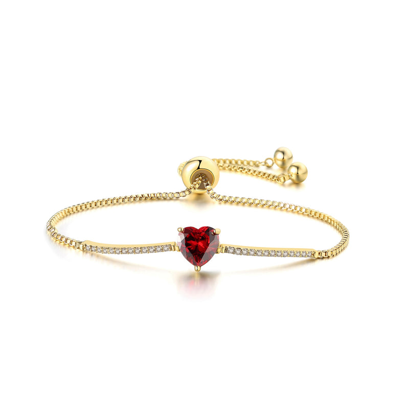"""My Love"" Adjustable Cubic Zirconia Valentine's Heart Chain Bracelets - Garnet Crystal 