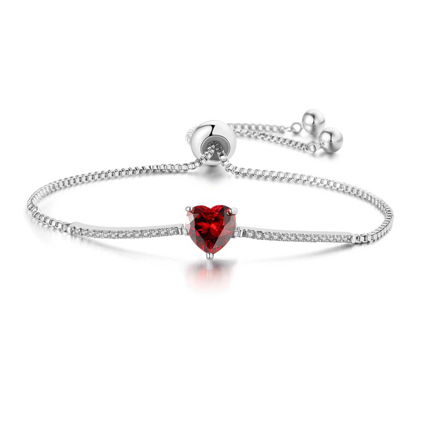 """My Love"" Adjustable Cubic Zirconia Valentine's Heart Chain Bracelets - Garnet Crystal - ISAACSONG.DESIGN"