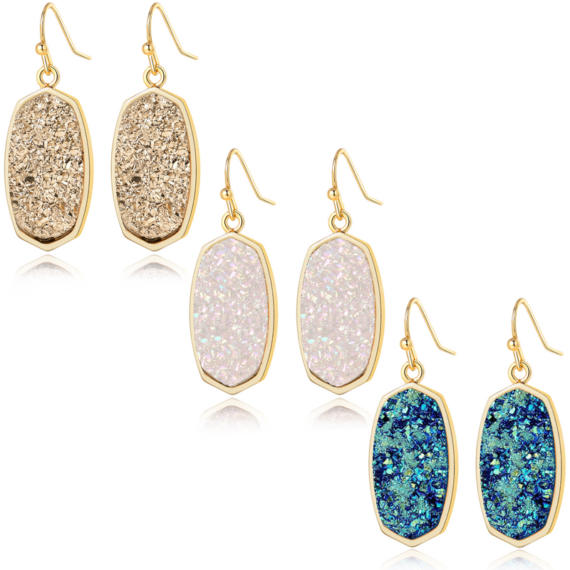 Statement Oval Simulated Drusy Crystal Stone Gold Tone Drop Dangle Earrings | ISAACSONG.DESIGN