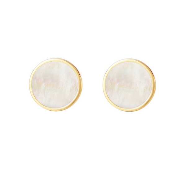 Gold Vermeil Circle geometric charm Dainty Coin Stud Earrings - ISAACSONG.DESIGN