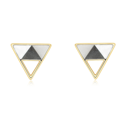 """Minimalist Geometric"" Statement Sterling Silver Triangle Stud Earrings 
