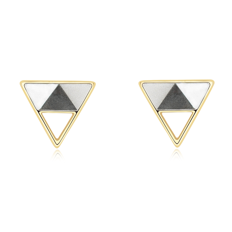 """Minimalist Geometric"" Statement Sterling Silver Triangle Stud Earrings - ISAACSONG.DESIGN"