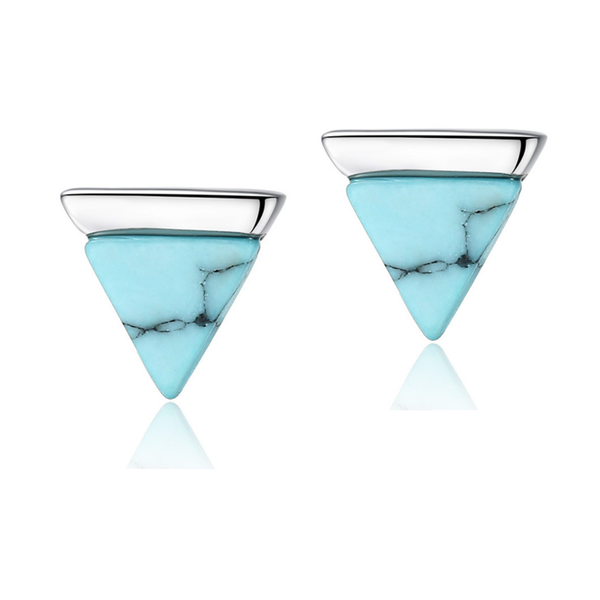 Statement Turquoise Sterling Silver Triangle Gemstone Stud Earrings - ISAACSONG.DESIGN