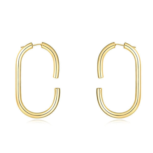 Chunky Statement Oval Clasping Link  Minimalist Hoop Earrings (Oval Hoop Earrings) | ISAACSONG.DESIGN