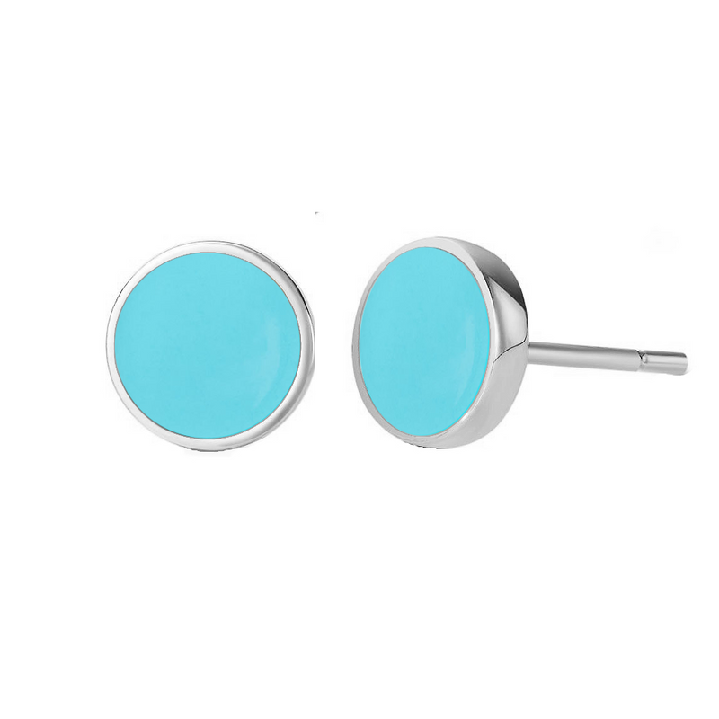 Sterling Silver Circle geometric charm Dainty Coin Stud Earrings | ISAACSONG.DESIGN