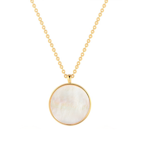 Sterling Silver Mother of Pearl Shell Pendant Dainty Coin Necklace | ISAACSONG.DESIGN