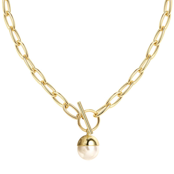 Statement Toggle Chunky Oval Clasping Link Choker with Pearl Pendant | ISAACSONG.DESIGN