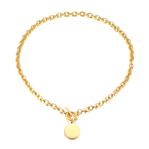 Statement Oval Clasping Link Choker with Round Coin Charm Chunky Necklace | ISAACSONG.DESIGN