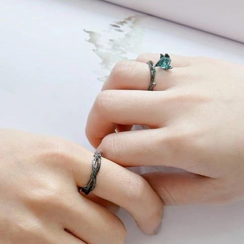 925 Sterling Silver Valentine Blue Rose Statement Adjustable Couple Ring - ISAACSONG.DESIGN