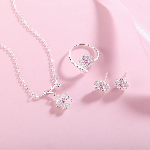 """Cherry Blossom"" Sterling Silver Crystal Sakura Flower Necklace Earrings Ring Jewelry Set 