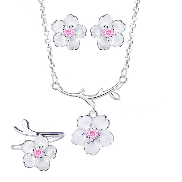 """Cherry Blossom"" Sterling Silver Crystal Sakura Flower Necklace Earrings Ring Jewelry Set - ISAACSONG.DESIGN"