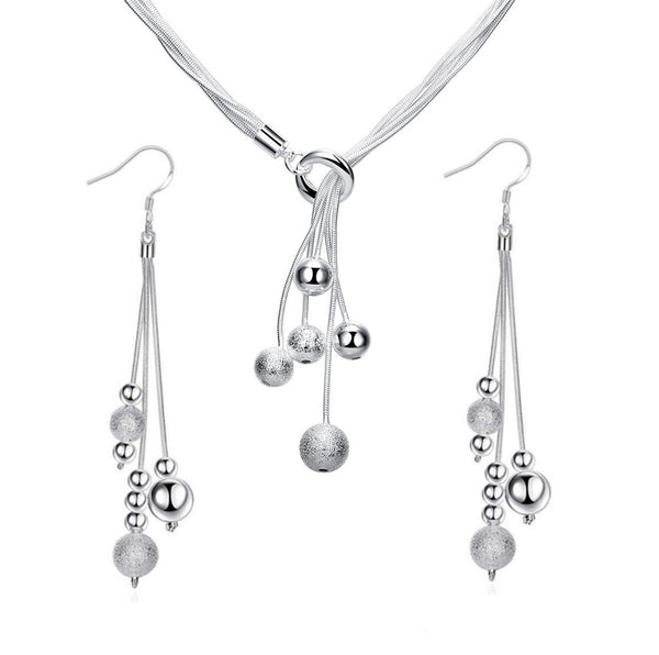 Sterling Silver Beaded Tassel Y Shape Necklace and Dangle Earrings Bridal Wedding Jewelry Set - ISAACSONG.DESIGN