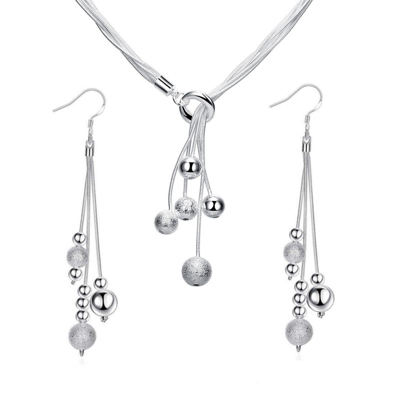 Sterling Silver Beaded Tassel Y Shape Necklace and Dangle Earrings Bridal Wedding Jewelry Set | ISAACSONG.DESIGN