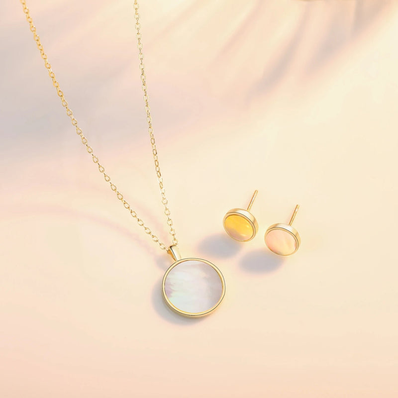 Gold Vermeil Mother of Pearl Shell Pendant Dainty Coin Necklace | ISAACSONG.DESIGN