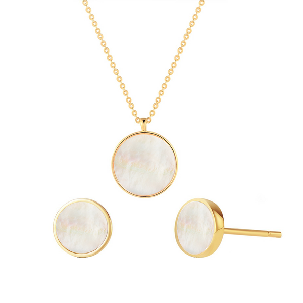 Gold Vermeil Mother of Pearl Shell Pendant Dainty Coin Necklace and Stud Earrings Jewelry Sets - ISAACSONG.DESIGN
