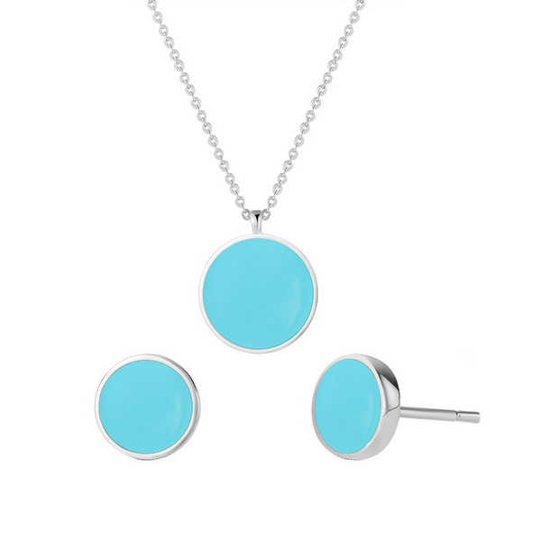 White Gold Vermeil Turquoise Dainty Circle Necklace and Stud Earrings Jewelry Set | ISAACSONG.DESIGN