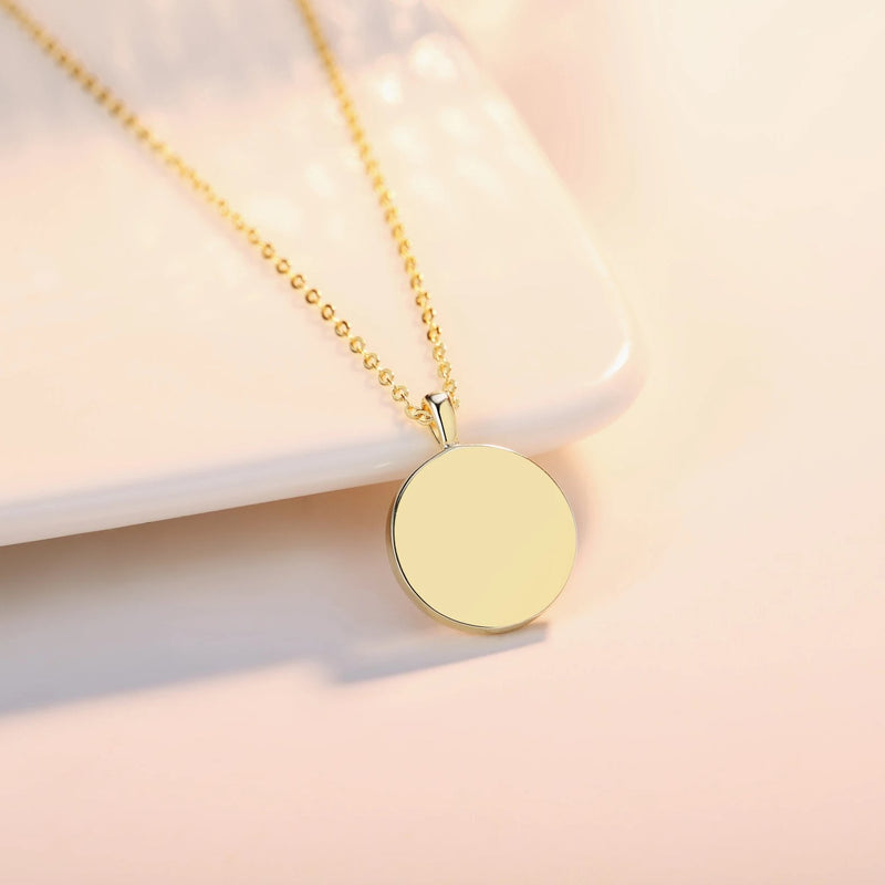 Gold Vermeil Mother of Pearl Shell Pendant Dainty Coin Necklace and Stud Earrings Jewelry Sets | ISAACSONG.DESIGN