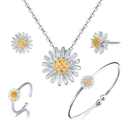 Sterling Silver Daisy Necklace Earring Bracelet ring Jewelry Set - ISAACSONG.DESIGN