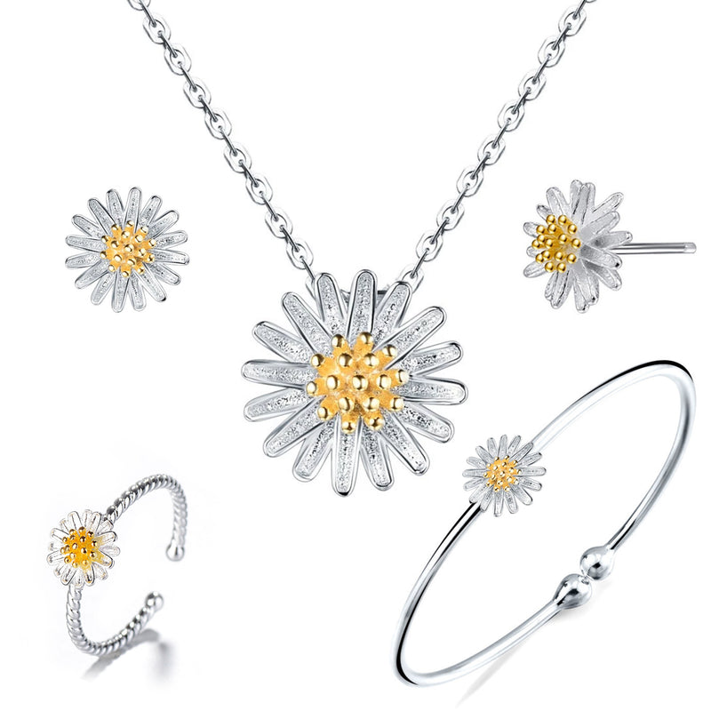 Sterling Silver Daisy Necklace Earring Bracelet ring Jewelry Set | ISAACSONG.DESIGN
