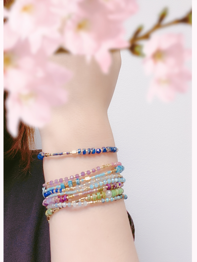 """Power of Gemstone"" Aventurine Japanese Seed Bead String Bracelet - ISAACSONG.DESIGN"