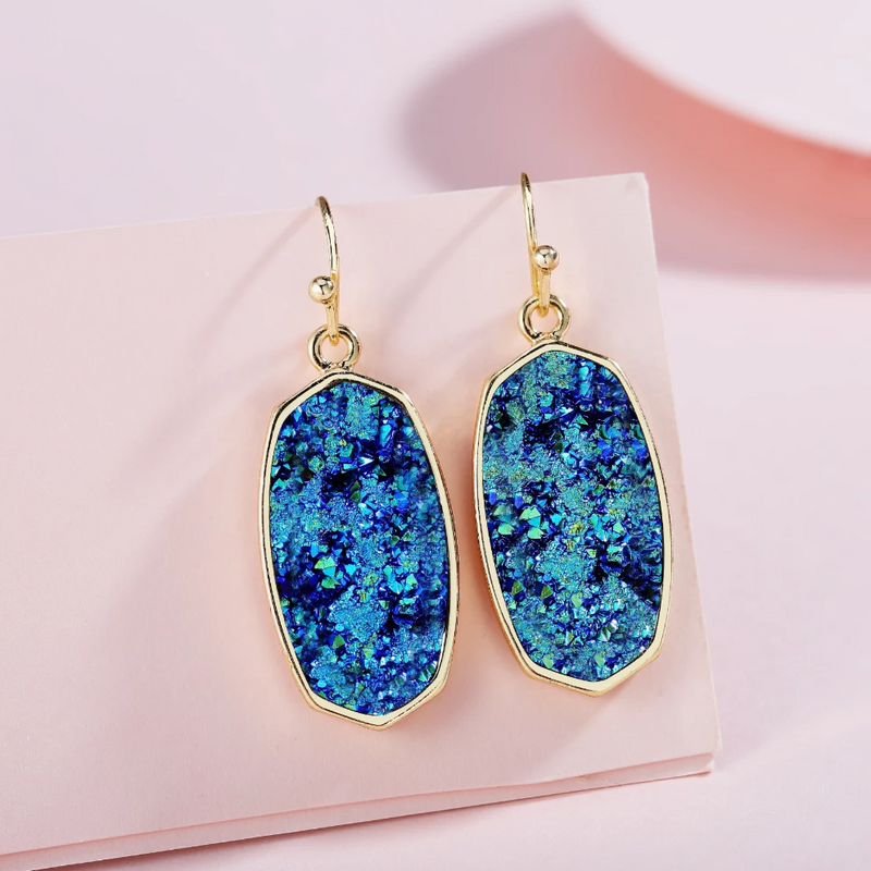 Statement Oval Drusy Crystal Stone Gold Tone Dangle Drop Earrings - ISAACSONG.DESIGN