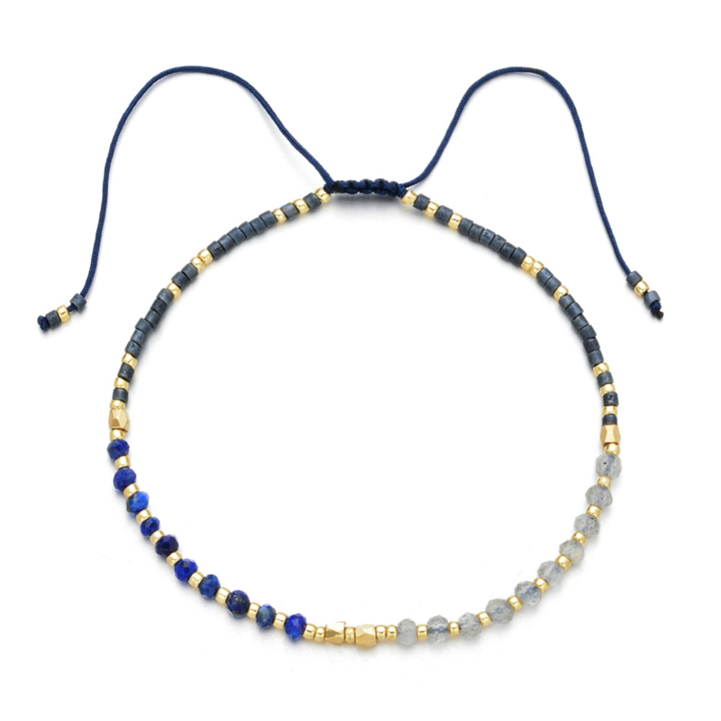 """Power of Gemstone"" Sapphire Japanese Seed Bead String Bracelet - ISAACSONG.DESIGN"