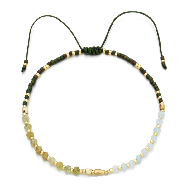 """Power of Gemstone"" Aventurine Japanese Seed Bead String Bracelet 