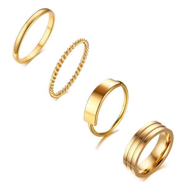 Dainty Gold Stacking Knuckle Midi Rings 4pcs Set | ISAACSONG.DESIGN