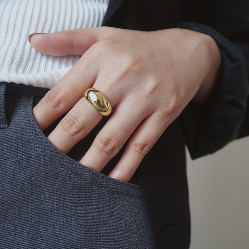Stackable Knuckle Midi Gold Dome Band Ring for women | ISAACSONG.DESIGN