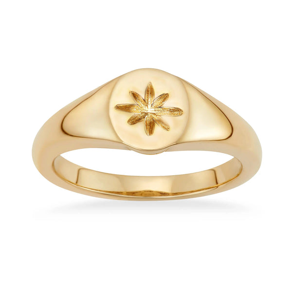 Stackable knuckle Midi Gold Signet ring for women - ISAACSONG.DESIGN