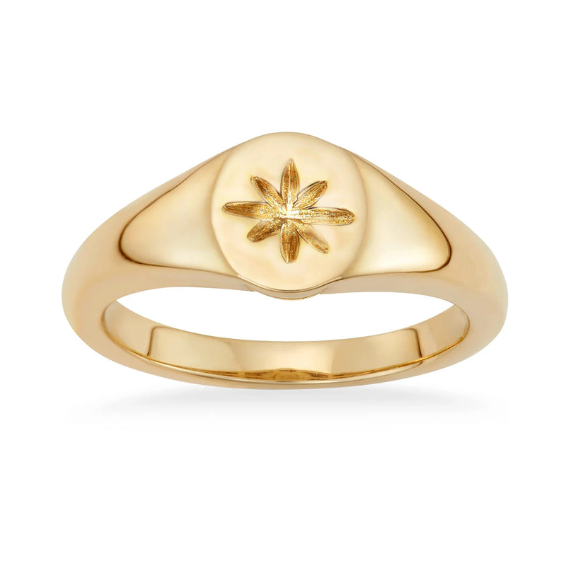Stackable knuckle Midi Gold Signet ring for women | ISAACSONG.DESIGN