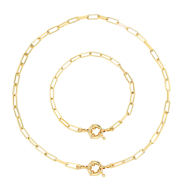 Gold Chain Oval Thick Link Choker Collar Necklace and Bracelet Jewelry Set with chunky Clasp - ISAACSONG.DESIGN