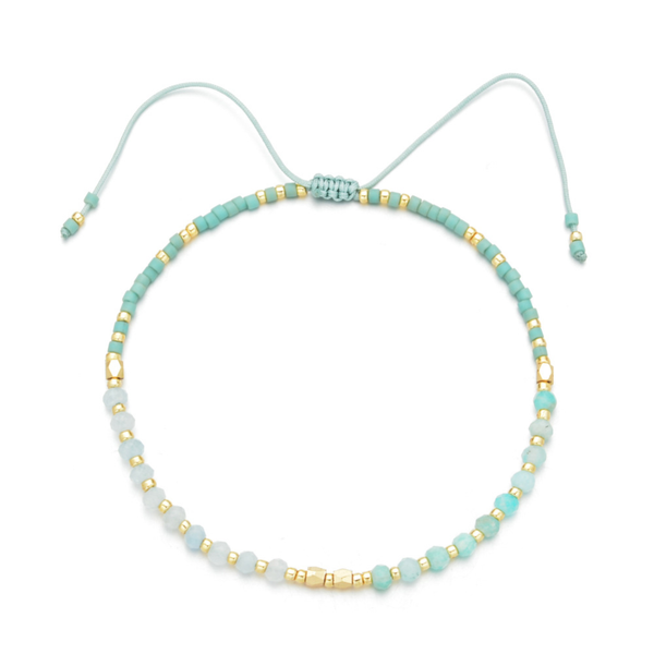 """Power of Gemstone"" Turquoise Japanese Seed Bead String Bracelet"