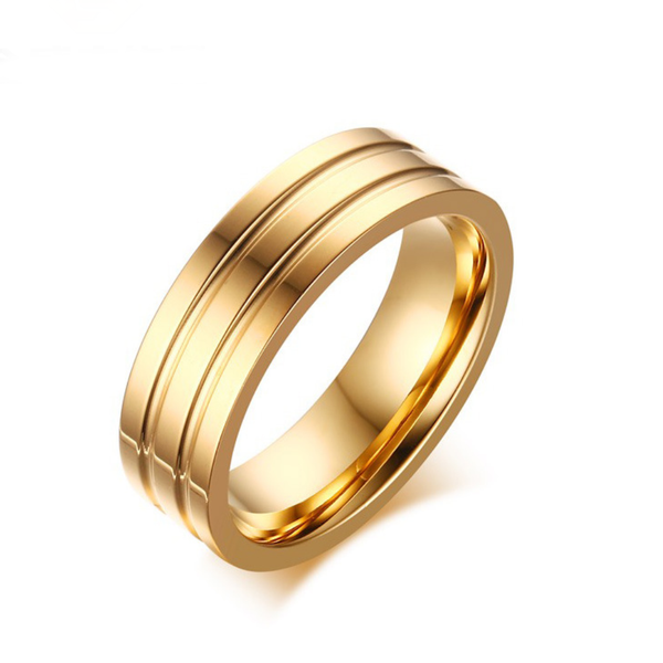 Dainty Gold Wide Band  Layered Stacking Rings - ISAACSONG.DESIGN