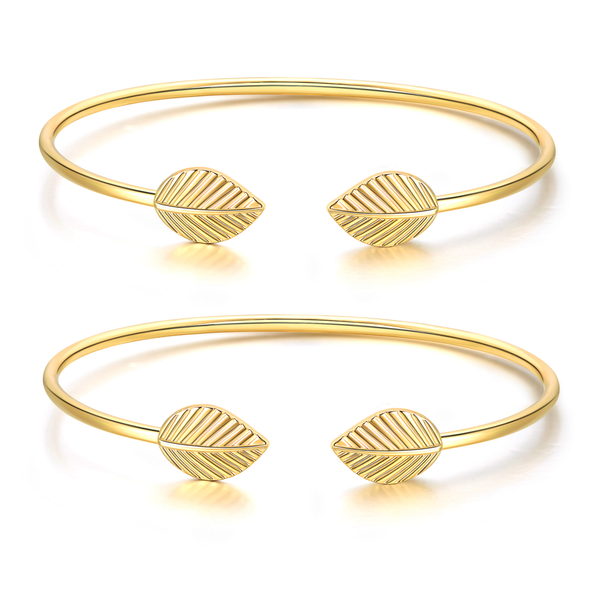 """Collect Our Story"" Inspirational Friendship 14k Gold Cuff Stackable Bangle Bracelets Set (New Leaf) 