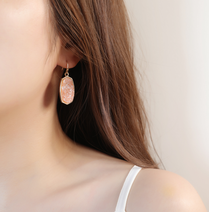 Statement Oval Drusy Crystal Stone Gold Tone Dangle Drop Earrings | ISAACSONG.DESIGN