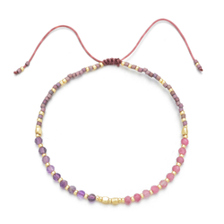 """Power of Gemstone"" Amethyst Japanese Seed Bead String Bracelet 