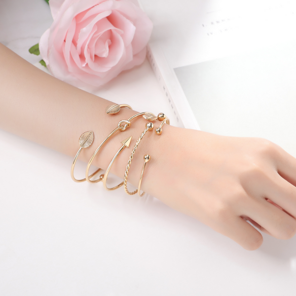 """Collect Our Story"" Inspirational Friendship 14k Gold Cuff Stackable Bangle Bracelets Set (Arrow Bangles) 